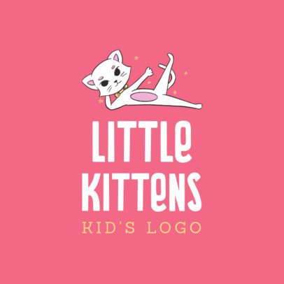 Online Logo Creator for a Kids Clothing Brand with a Funny Kitten Graphic 3660f