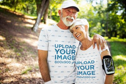 Activewear T-Shirt Mockup of a Senior Couple Hugging 41017-r-el2