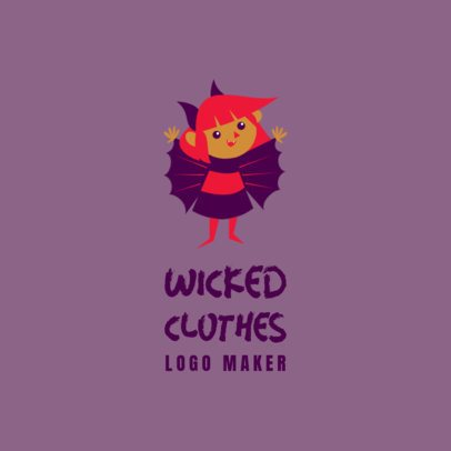 Kids' Clothing Brand Logo Maker Featuring a Cute Vampire 3660h