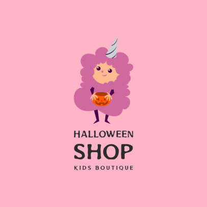 Illustrated Kids' Apparel Logo Maker Featuring a Kid in a Cotton Candy Costume 3660j