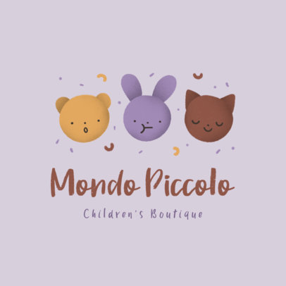 Logo Maker for a Children's Boutique Featuring Cute Animals Illustrations 3660p