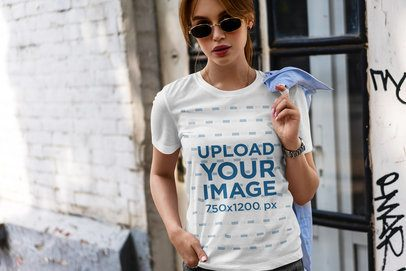 Mockup of a Cool Woman With Sunglasses Wearing a Customizable Tee 4978-el1