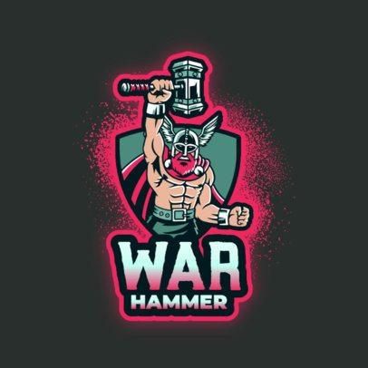 Logo Maker with a Scandinavian God with a Hammer 3650d