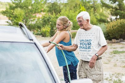 Round Neck T-Shirt Mockup Featuring an Elderly Man with Her Daughter Washing Their Car 39598-r-el2