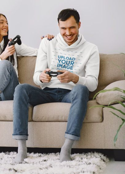 Hoodie Mockup of a Man Playing Video Games with His Girlfriend 42611-r-el2