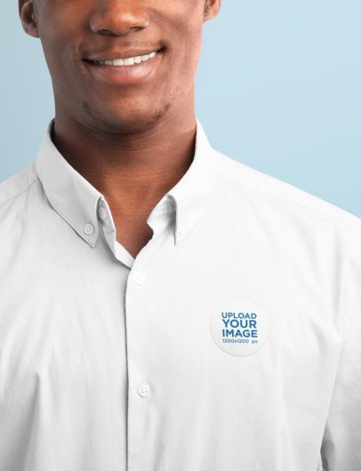 Mockup of a Man with a Sticker Attached to His Shirt 42260-r-el2
