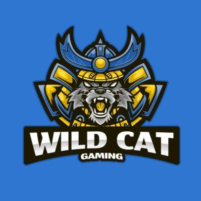 Gaming Logo Maker Featuring a Wild Cat With a Samurai Helmet 2930a-el1