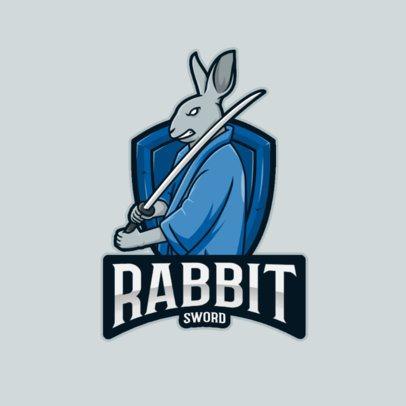 Gaming Logo Generator Featuring a Rabbit With a Samurai Sword 2930d-el1