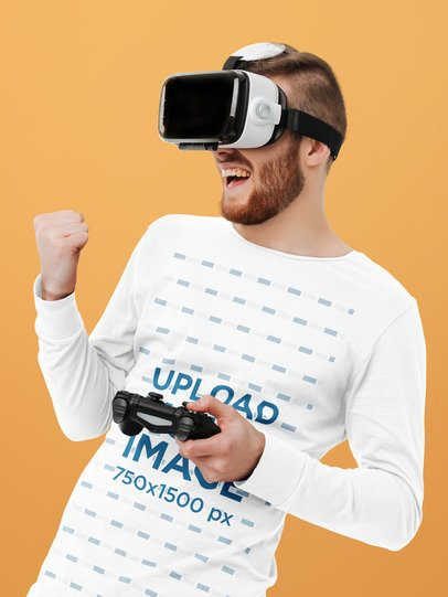 Long Sleeve Tee Mockup of a Man Using a VR Device 42592-r-el2