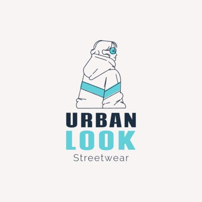 Free Logo Template for Streetwear Brands Featuring a Line Illustration of a Woman 3695k