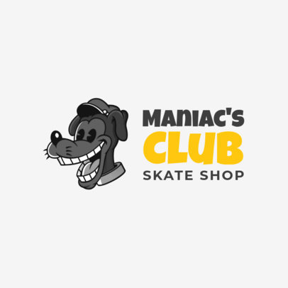 Free Logo Template for a Skate Shop Featuring a Retro Cartoon Character 3695n