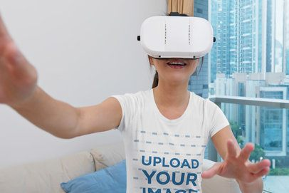 T-Shirt Mockup of a Woman Playing with a VR Headset 42846-r-el2