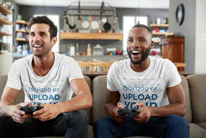 T-Shirt Mockup of Two Men Playing Video Games at Home 42788-r-el2