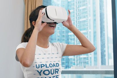 T-Shirt Mockup of a Woman Having Fun with a VR Headset 42663-r-el2
