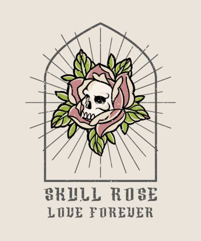 Illustrated T-Shirt Design Template Featuring a Skull in a Rose 2935c-el1