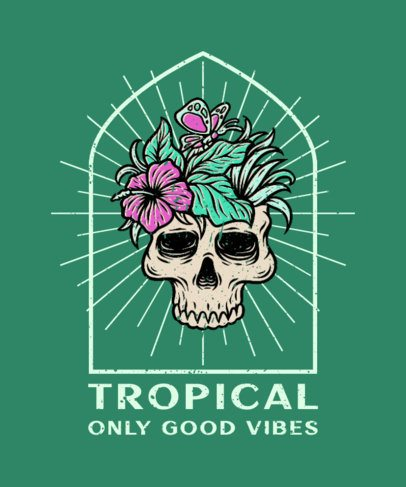 T-Shirt Design Generator Featuring an Illustration of a Skull With Tropical Plants 2935d-el1