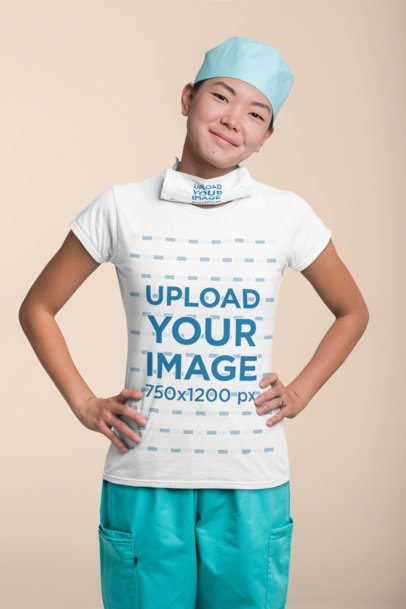 T-Shirt Mockup of a Kind Nurse with a Face Mask on Her Neck 27462
