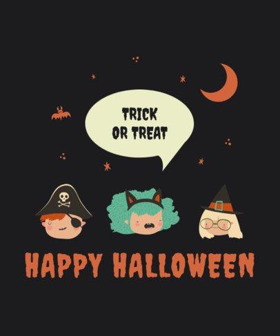 Kids T-Shirt Design Template Featuring Happy Halloween Graphics 2925-el1