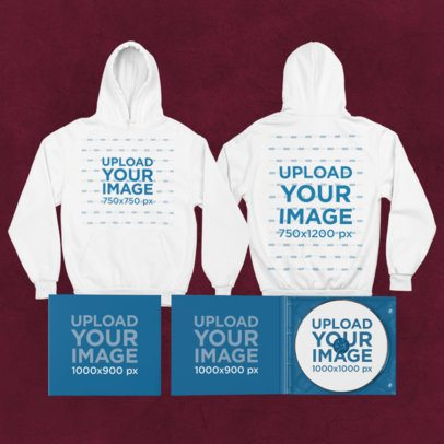 Merch Bundle Mockup Featuring a Both Sides-View Hoodie and Two Digipaks 43436-r-el2