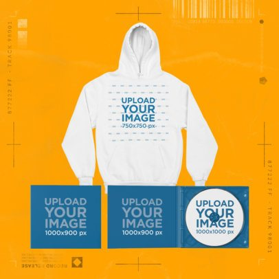 Merch Bundle Mockup Featuring a Pullover Hoodie and Two CD Digipaks 43430-r-el2