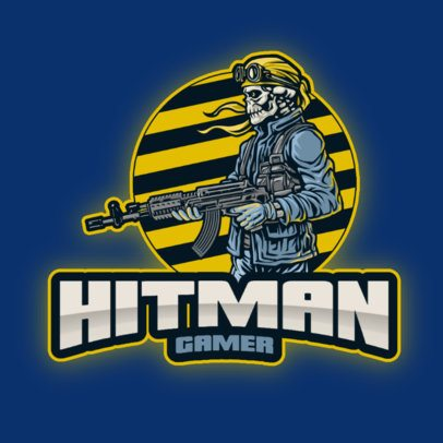 Online Logo Maker for a Gaming Team with a Skeleton Hitman 2939e-el1