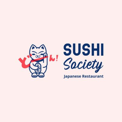 Free Logo Creator for a Sushi Restaurant Featuring a Lucky Cat Clipart 3696c