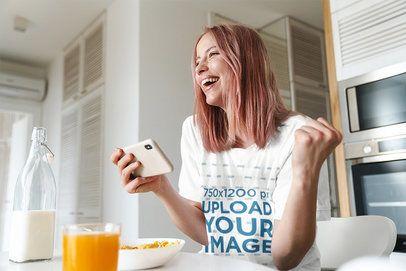 T-Shirt Mockup of a Happy Woman Eating Breakfast 42845-r-el2