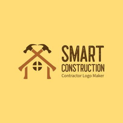 Free Logo Template for Contractors with a House Clipart 3696h