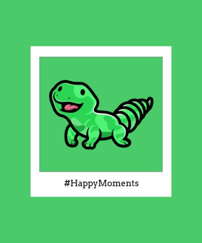 T-Shirt Design Template Featuring a Friendly Lizard in an Instant-Picture Frame 2932b-el1