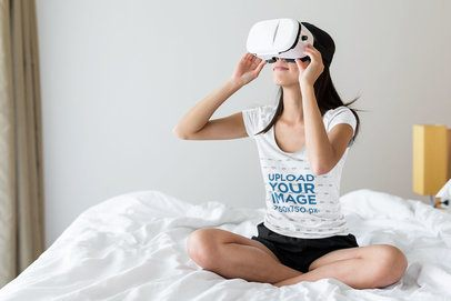 T-Shirt Mockup of a Woman Using VR Headset in Her Room 42777-r-el2