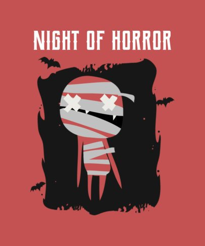 Halloween-Related T-Shirt Design Template with a Mummy Illustration 2926e-el1