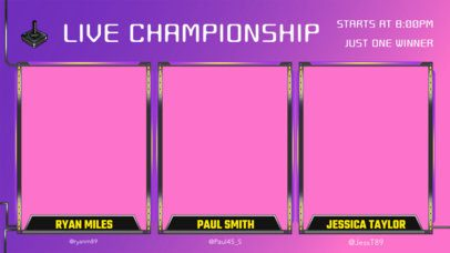 Gaming Twitch Overlay Template for a Live eSports Championship with Multiple Webcams 2970c