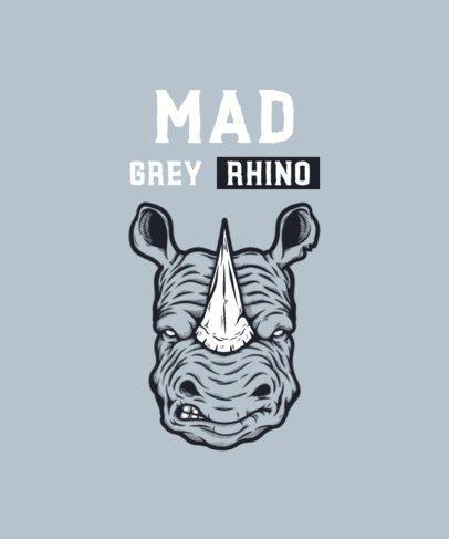 Illustrated T-Shirt Design Creator Featuring a Mad Grey Rhino 2933h-el1