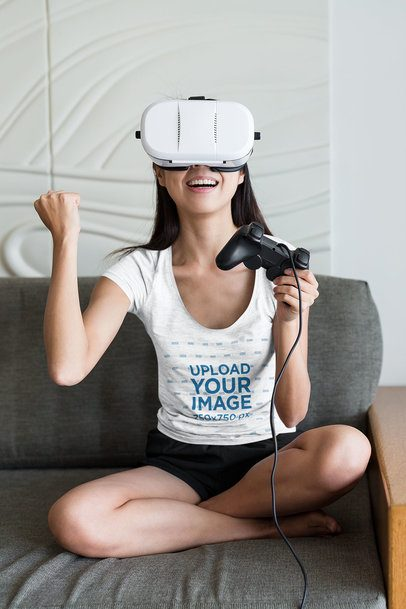 Mockup of a Gamer with a Heather Tee Playing with a VR 41880-r-el2