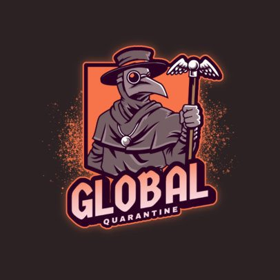 Illustrated Gaming Logo Template Featuring a Plague Doctor With a Beaked Mask 3672m