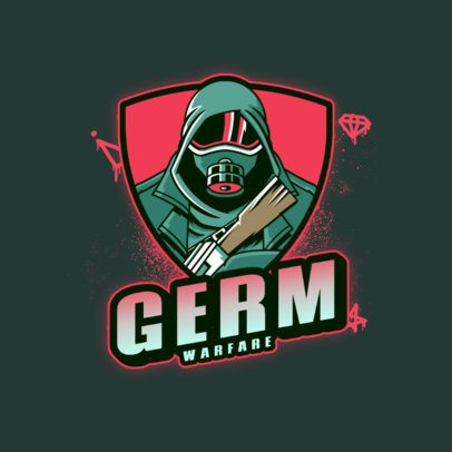 Gaming Logo Template Featuring a Character With a Gas Mask and a Rifle 3672p