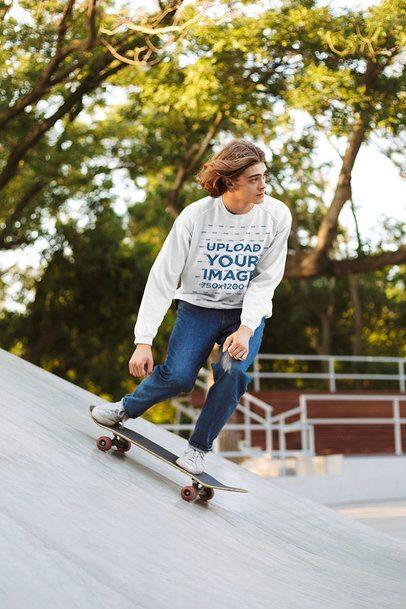 Sweatshirt Mockup of a Young Man Riding a Skateboard 43348-r-el2