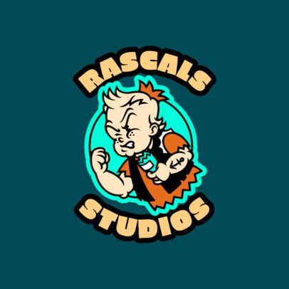 Cartoonish Logo Template for a Music Studio Featuring Patch-Like Graphics 3681b