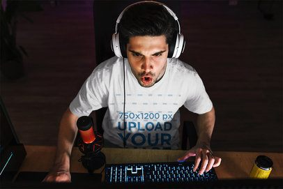 T-Shirt Mockup of a Gamer Playing on the Computer 42751-r-el2