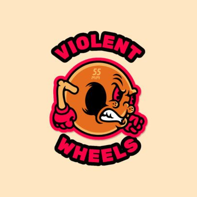 Logo Maker Featuring a Cartoon Wheel with an Angry Face 3681j