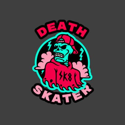 Cartoonish Logo Maker with a Skater Skeleton Graphic 3681i