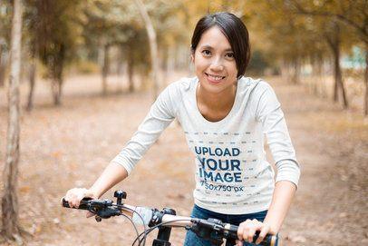3/4 Sleeve Tee Mockup of a Happy Woman Riding a Bike 42464-r-el2