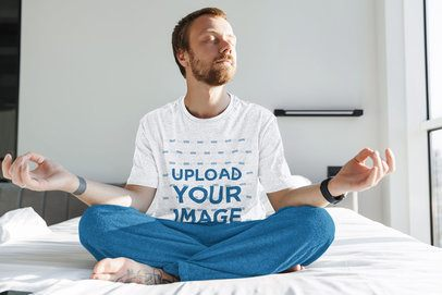 T-Shirt Mockup of a Man Meditating on His Bed 43606-r-el2