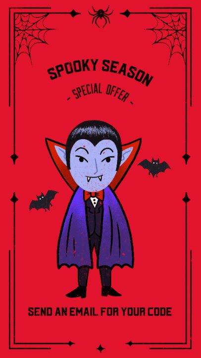 Instagram Story Template for Halloween Deals Featuring a Cute Vampire Illustration 2965c