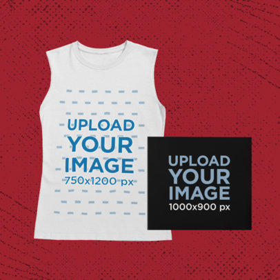 Merch Bundle Mockup Featuring a Closed Digipak with a Sleeveless Shirt 43386-r-el2