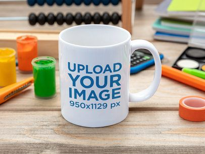 Mockup of an 11 oz Coffee Mug Placed on a Kid's Desk 43580-r-el2