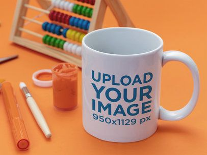 Mockup of an 11 oz Coffee Mug Featuring an Abacus 43581-r-el2