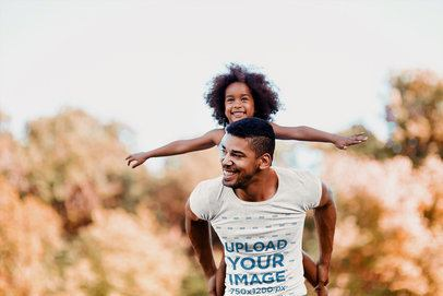 Round Neck Tee Mockup of a Dad and Daughter Playing Together 42238-r-el2