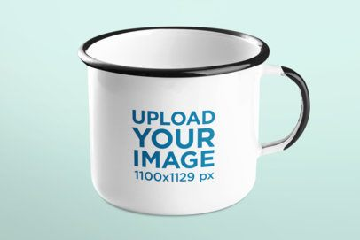 Mockup of a Simple 12 oz Enamel Mug 43564-r-el2