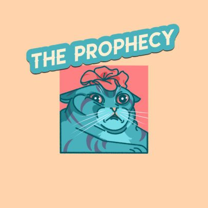 Twitch Emote Logo Template Featuring a Funny Cat Illustration 3674c